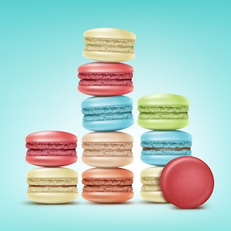Vector stacks of colorful pink, green, beige, blue macarons isolated on background