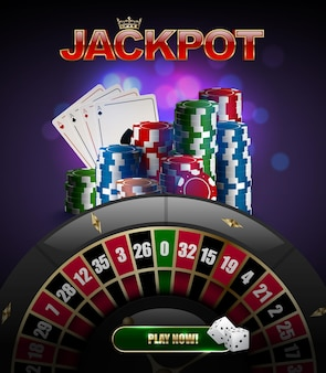Vector stacks of red, blue, green casino chips top side view, playing cards poker four aces, jackpot glossy text, black roulette wheel and glow purple background. two white dices on play now button.