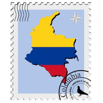 Vector stamp with the image maps of colombia