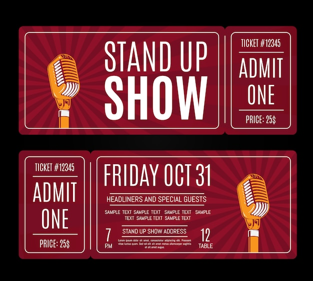 Vector stand up show tickets with retro microphone on sunburst background. humor entertainment and perform illustration