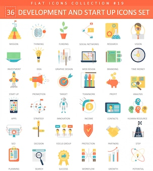 Vector startup and development flat icons