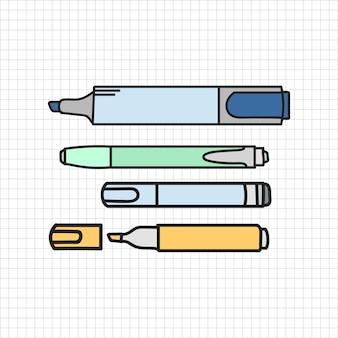 Vettore di stile di doodle di cancelleria