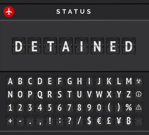 Vector status board of flights that detained. airport flip scoreboard announcing warning due to cancelled arrivals