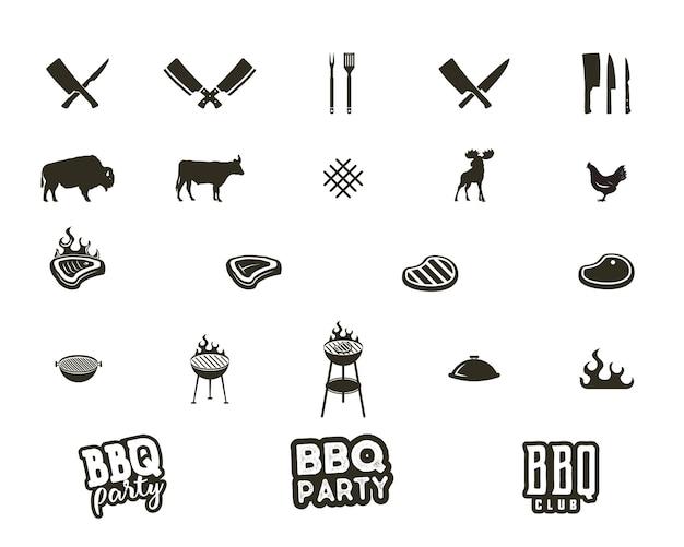 Вектор стейк-хаус и гриль силуэт текстурированные значки. черные формы, изолированные на белом фоне. включено оборудование для гриля, инструменты, элементы и типографские знаки - концепция вечеринки с барбекю и другие.