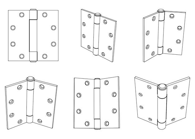 Vector steel butt door hinge outline illustration