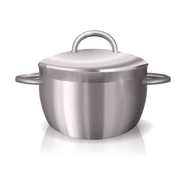 Вектор стальной сковороды с отражениями и тенями на белом