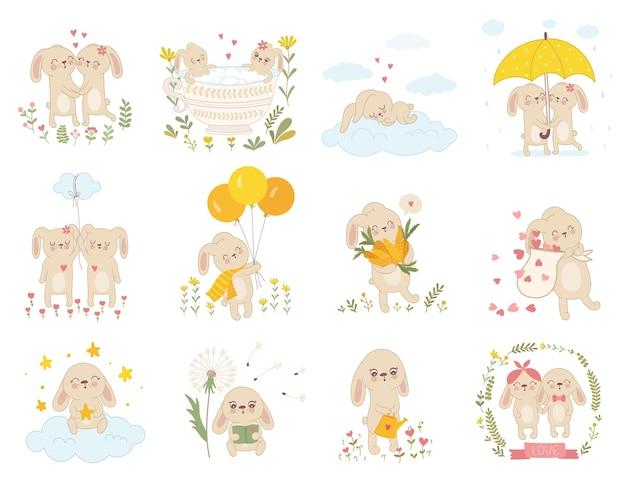 Векторная коллекция наклеек с милыми весенними кроликами
