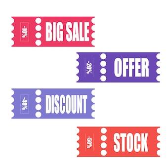 ベクトルステッカー、値札、バナー、ラベル。クーポン販売、オファー、プロモーションのベクトルテンプレート