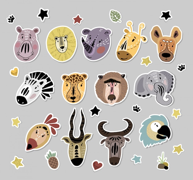 Vector stickers set with cute african animals cartoon faces
