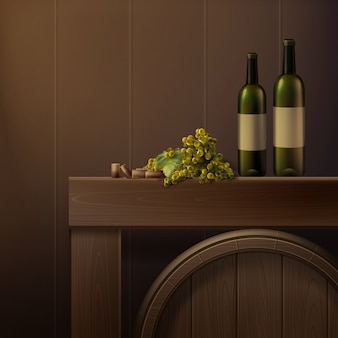 Vector still life of bottles, grapes and wooden barrel isolated on colored background