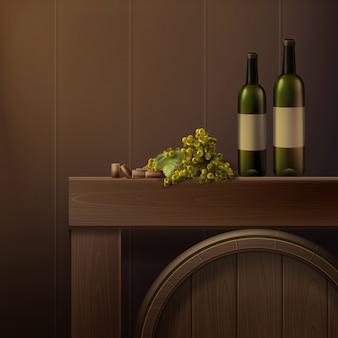 Векторный натюрморт из бутылок, винограда и деревянной бочки, изолированные на цветном фоне