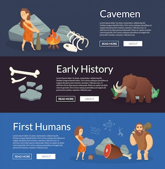 Vector stone age cartoon cavemen banners illustration