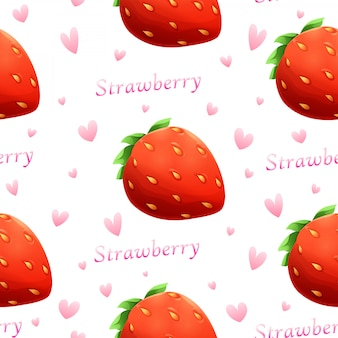 Vector strawberry and font seamless pattern