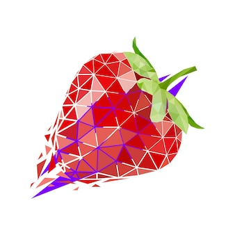 Vector strawberry in low poly style. digital art