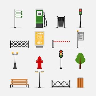 ベクトルストリート要素セット。ベンチと看板、給水栓と信号機、街灯とフェンス