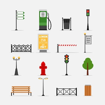 Vector street element set. bench and billboard, hydrant and traffic lights, streetlights and fence