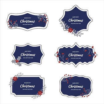 Vector striped christmas frame set perfect for holiday invitations or announcements