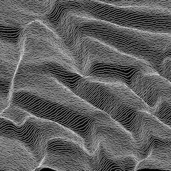 Вектор полосатый фон в оттенках серого. абстрактные линейные волны. колебания звуковой волны. обалденные завитые линии. элегантная волнистая текстура. искажение поверхности. черное и белое.