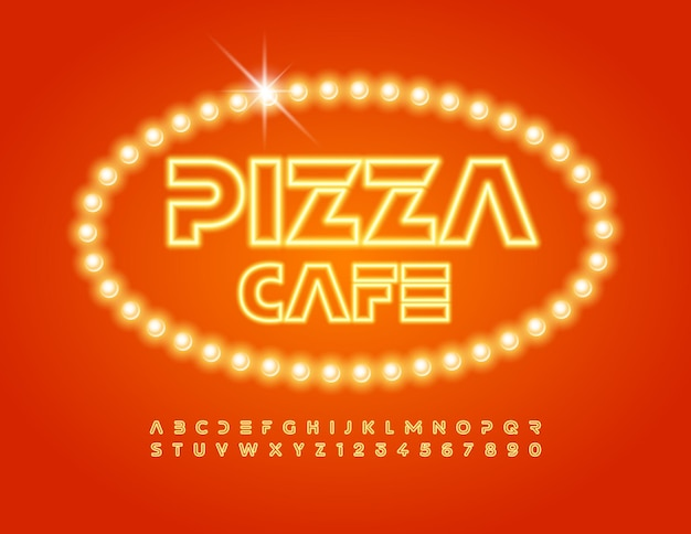 Vector stylish logo pizza cafe set of yellow neon alphabet letters and numbers glowing light font