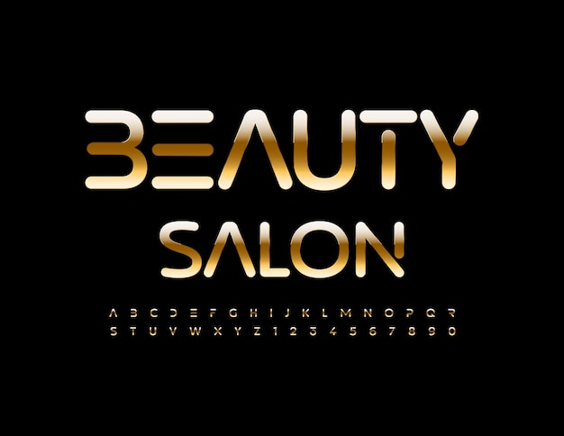 Vector stylish sign beauty salon chic premium font golden alphabet letters and numbers set