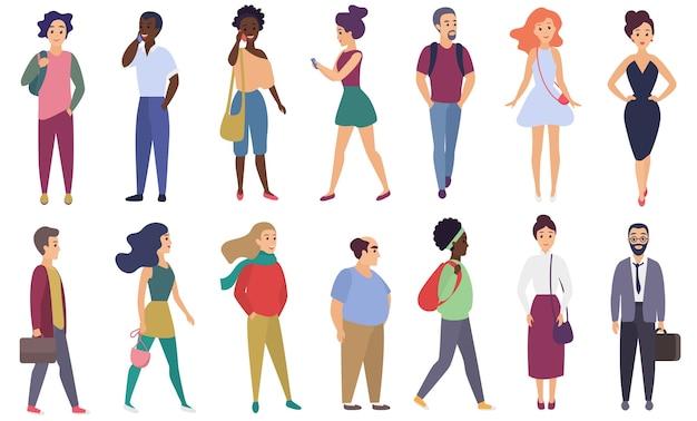 벡터 양식 된 문자 성인 사람들이 설정합니다. 남성과 여성의 평면 만화 캐릭터 격리 그룹