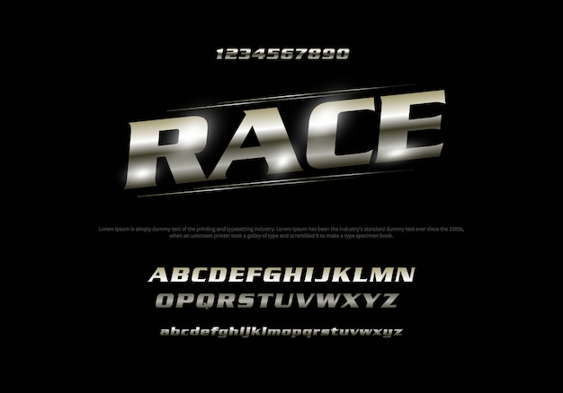 Vector of stylized modern font and alphabet. racing typography