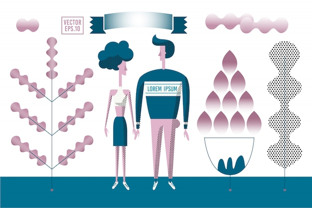 Vector stylized romantic illustration. man and woman walking outdoor in the park.