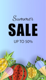Vector summer background banner 3d paper