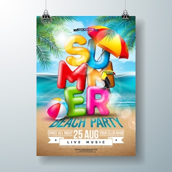Vector summer beach party flyer design with 3d typography letter and tropical palm leaves on ocean landscape background. vacation holiday design