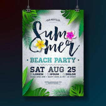 Vector summer beach party flyer or poster template design with flower and tropical palm leaves