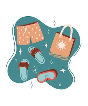 슬리퍼 또는 플립 플롭 수영 반바지와 비치 가방 벡터 여름 만화 그림