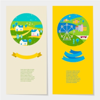 Vector summer colorful illustration, travelling, holidays. set of banners, cards, flyers with ribbon and text template. village and city view