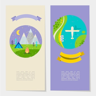 Vector summer colorful illustration, travelling, holidays. sewt of banners, cards, flyers with ribbon and text template. hiking and plane flying