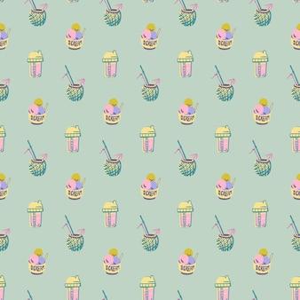 ベクトル夏落書きシームレスパターンレトロなヴィンテージ流行色手描きの夏のオブジェクト