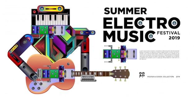 Vector summer electro music festival banner design template