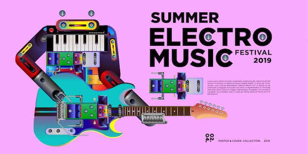 Vector summer electro music festival banner design template