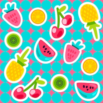 Vector summer fruits pattern in cartoon style