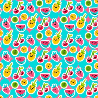 만화 스타일의 벡터 여름 과일 패턴입니다. 과일과 열매. 달콤한 배경