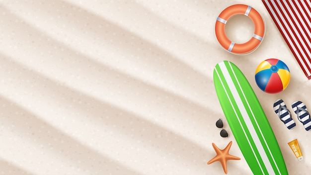 Vector summer holiday illustration with beach ball, palm leaves, surf board on beach sands.