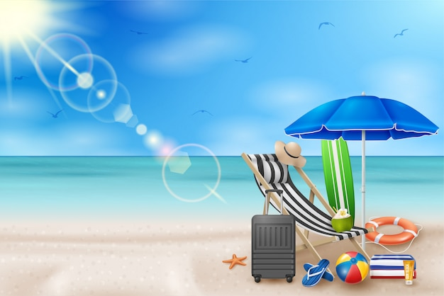 Vector summer holiday illustration with beach ball, palm leaves, surf board on blue ocean landscape.
