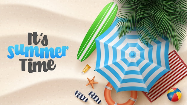 Vector summer holiday illustration with beach ball, palm leaves, surf board and typography letter on beach sands.
