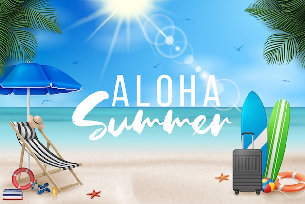 Vector summer holiday illustration with beach ball, palm leaves, surf board and typography letter on blue ocean landscape.