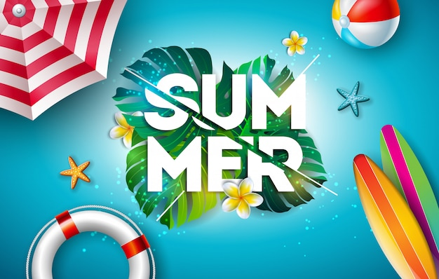 Vector summer holiday illustration with flower and tropical palm leaves