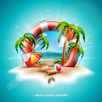 Vector summer holiday illustration with lifebelt and palm trees