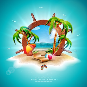 Vector summer holiday illustration with ship steering wheel