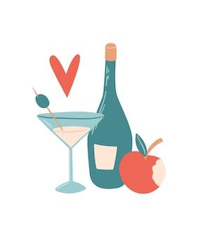 칵테일, 사과, 병, 심장이 있는 벡터 여름 삽화. 인쇄용, 포스터 및 카드용.