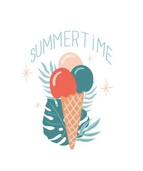 아이스크림 몬스테라 잎과 여름 글자가 있는 벡터 여름 그림