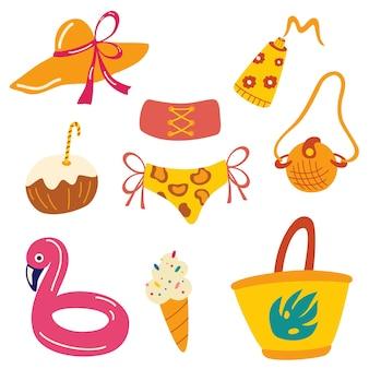 Векторные летние предметы. женские пляжные элементы. летние лоточки, сумка, шапка, крем от загара, косметичка, купальник, мороженое, надувной круг. плоский рисунок.