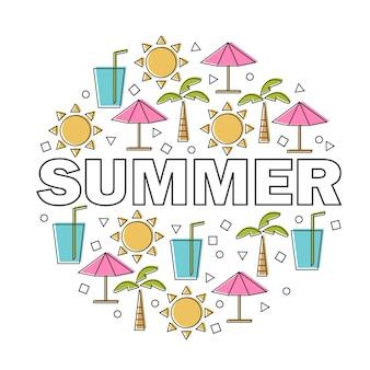 선형 아이콘 및 표지판이 있는 벡터 여름 레터링 - 여행 및 휴가 재미있는 만화 개념