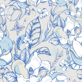 Vector summer magnolia seamless pattern